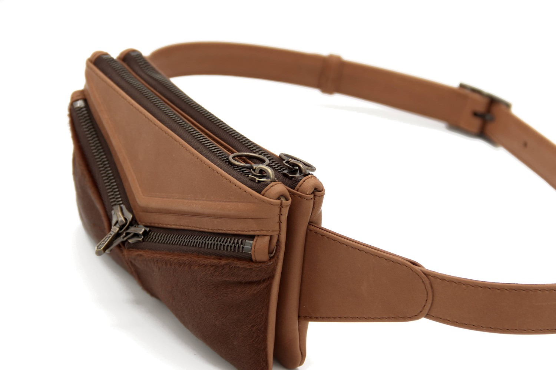 "Jessica Cohen Sac ceinture ""Origame"" modulable Rock'n Rhombus, cognac"